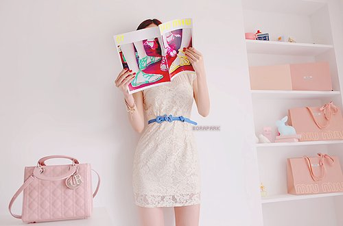 belt, blue, colors, dress, fashion, girl, lace, magazine, pink, pretty, shelf, white