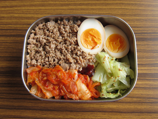 bento, boiled egg, egg, food, kimchi