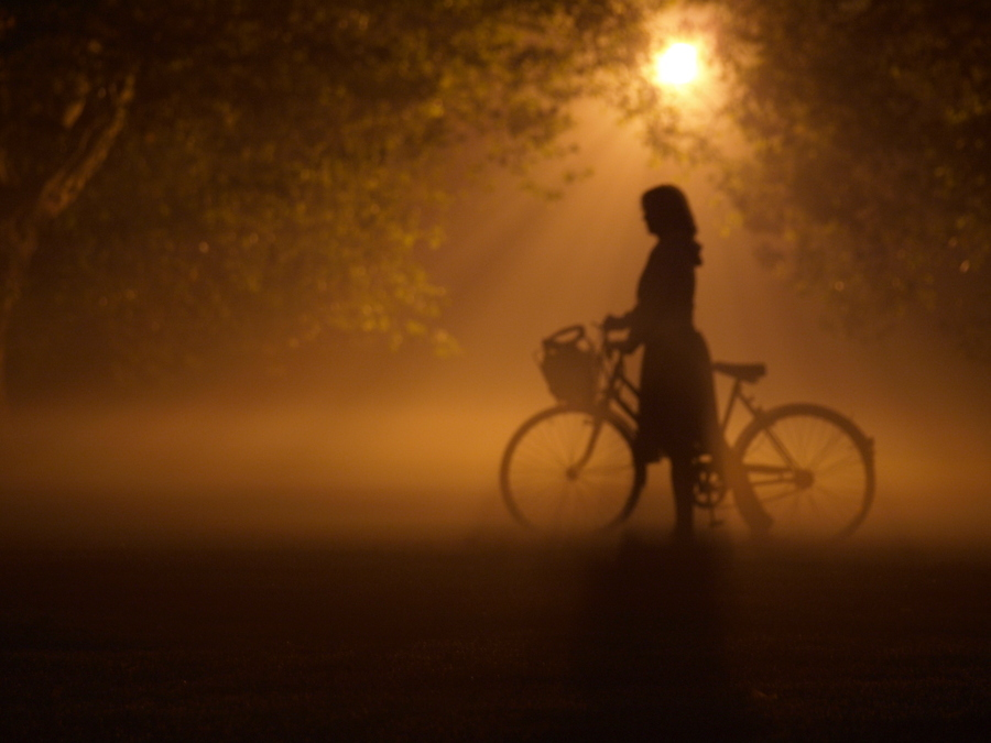 bike, darkness, girl