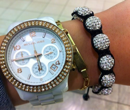 black and white, bling, fashion, girl, gold, michael kors, silver, style, watch, watches