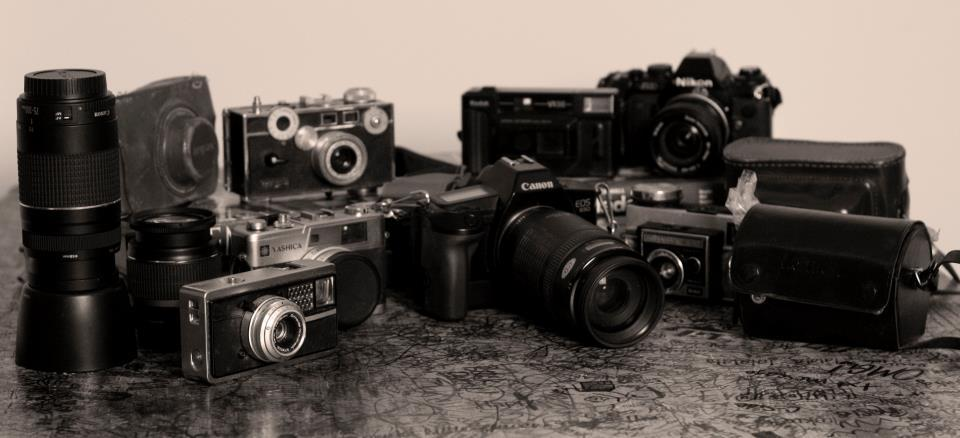 black and white, camera, cameras, canon, nikon