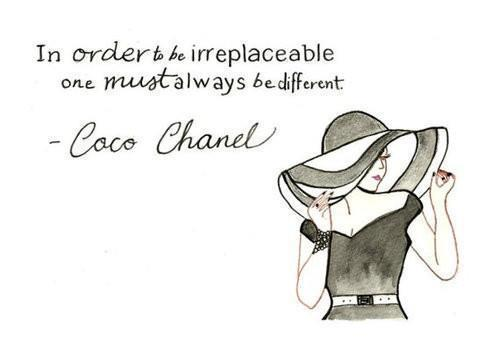 black and white, chanel quote, chic, coco chanel quote, coco channel, couture, cursive, different, fashion, france, french, hat, illustration, inspiration, inspiring, irreplaceable, pretty, quote, sophistication