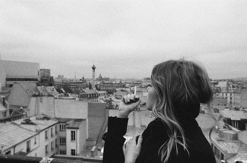 black and white, cigarette, city, girl, hair, smoking