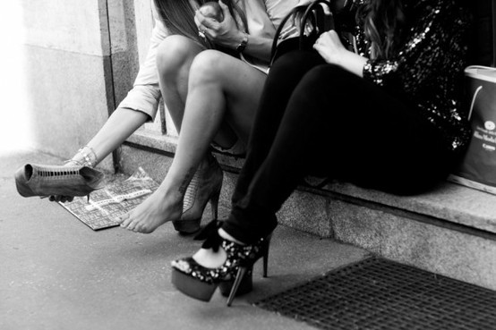 black and white, fashion, friends, girls, heels, high heels