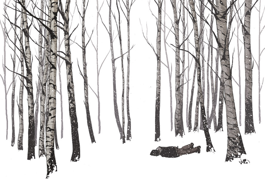 black and white, forest, ghostco, grey, illustration