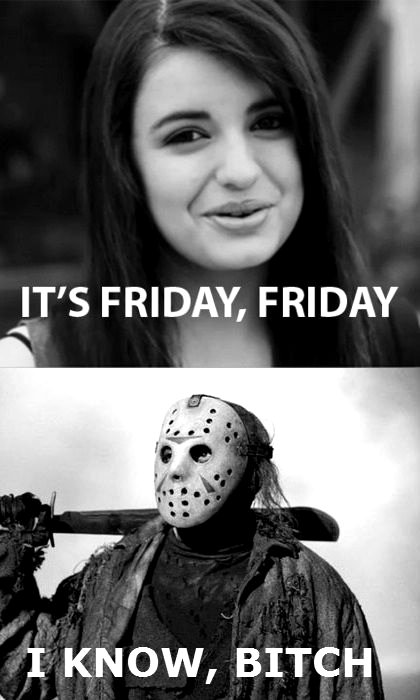 black and white, friday the 13th, jason, jason voorhees, lol, rebecca black