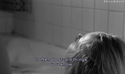 black and white, girl, phrase, sad, subtitles, text, woman