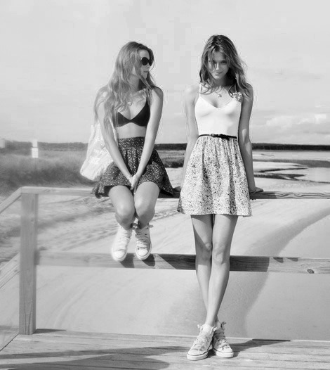black, black and white, black&white, girls, models, skirt, skirts, white