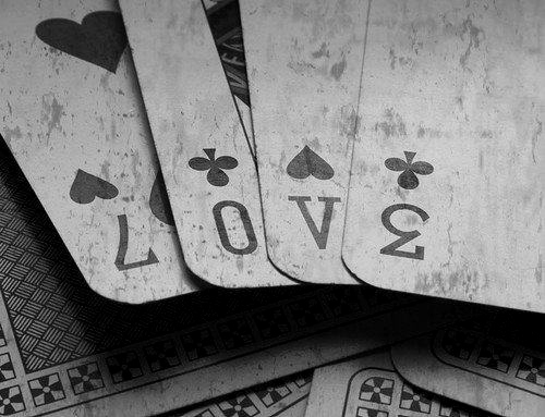 black, black and white, cards, couple, gray, grey, heart, hearts, letters, love, numbers, old, vintage, white