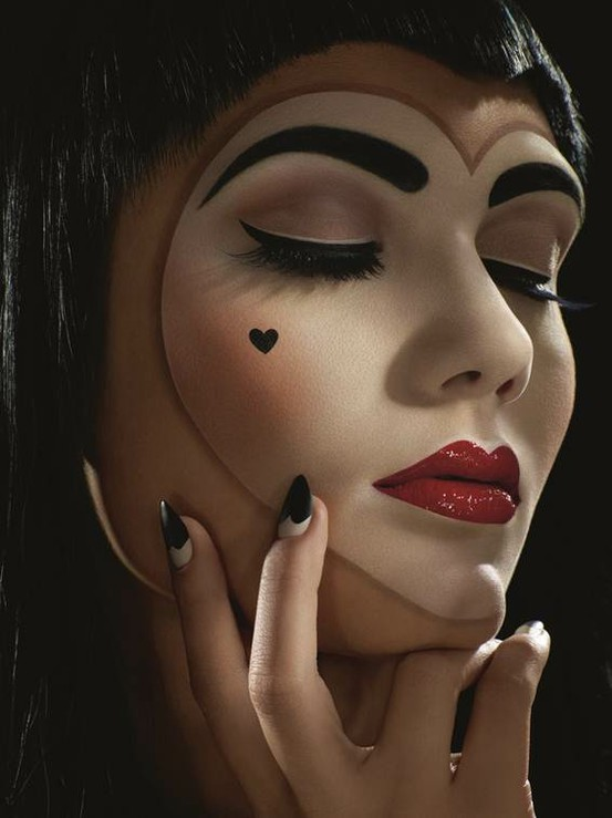 black, body paint, closeup, eyeliner, hearts