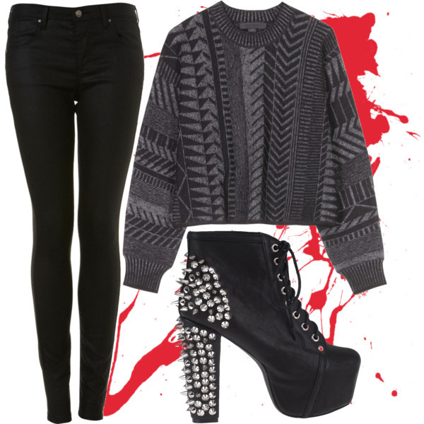 black, collage, cozy, jeans, jeffrey campbell