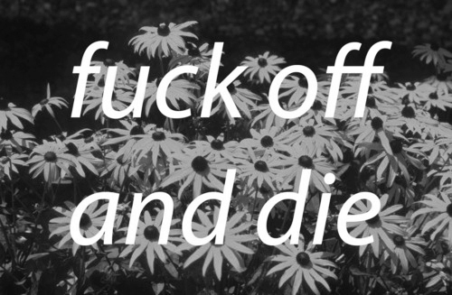 black, die, flowers, fuck off, quote