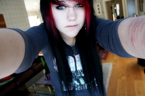 black hair, blue, emo, eyes, face, girl, grey, hair, light, long hair, red, red hair, scene