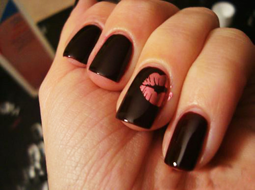 black, hot, lips, nails, pink