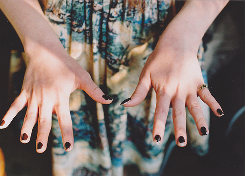 black nails, cute, fingers and hands