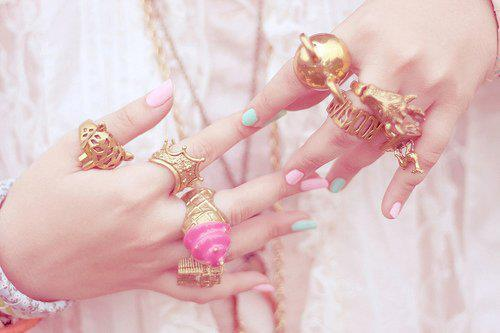 bling, bow, fashion, gold, hand, nails, pretty, ring, style