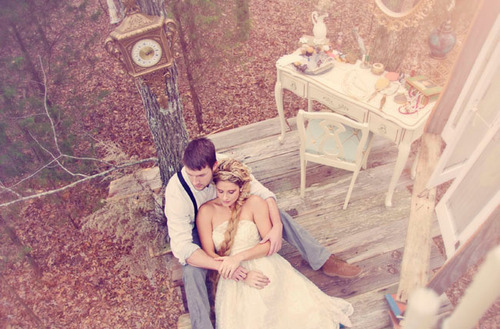 blonde, boy, chair, clock, couple, desk, forest, girl, guy, love, tree, trees, vintage, woods