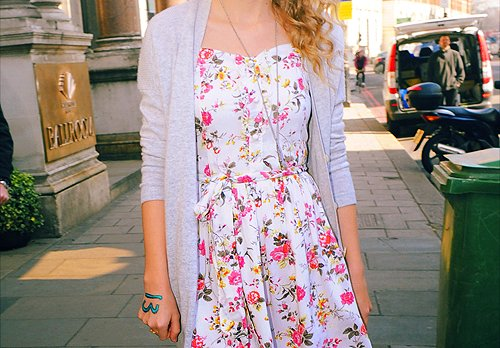 blonde, clothes, dress, fashion, floral