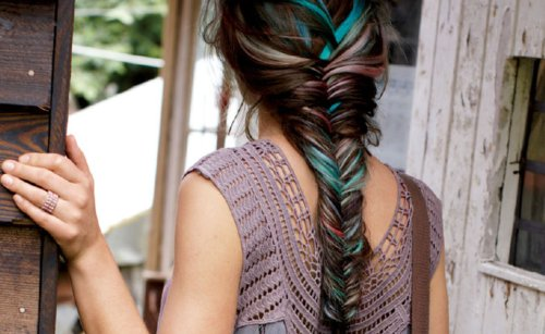 blue, braid, brown hair, dyed, fishtail