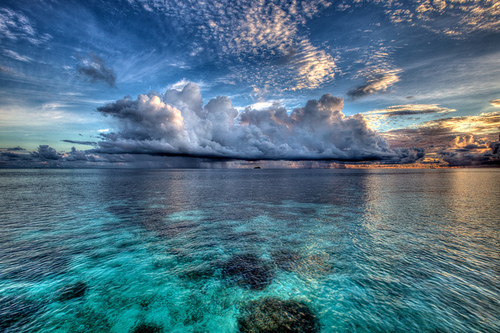 blue, clouds, sky, water