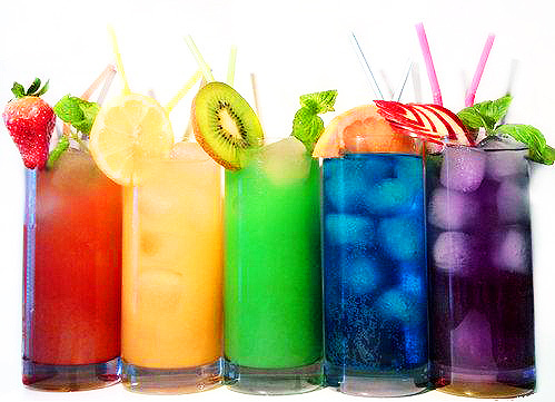 blue, colorful, fruit, grapes, kiwi, lemon, orange, pink, purple, rainbow, strawberry, yellow