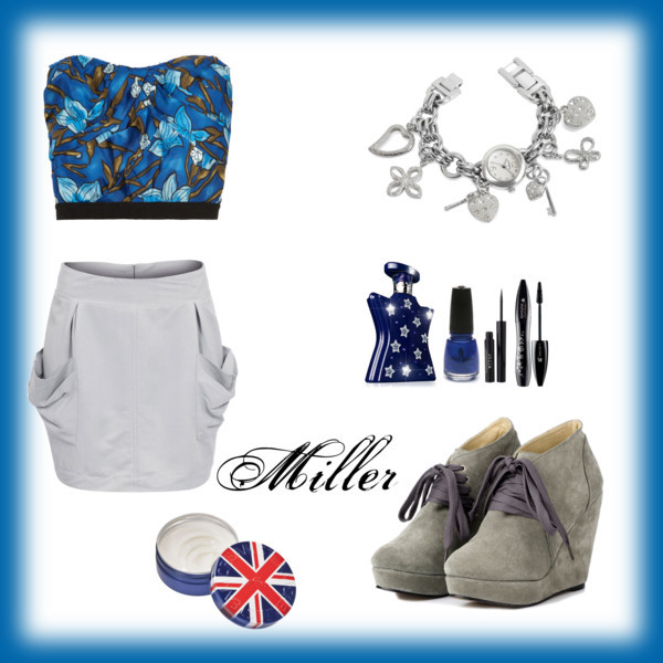 blue, england, fashion, london, make up, miller, nickelback, ramona, shoes, skirt, stars, summer, top, watch