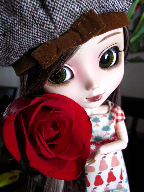 blythe, cute, doll, flower, rose