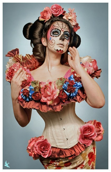 body paint, calavera, catrina, corset, day of the dead