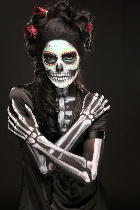 body paint, calavera, catrina, day of the dead, dia de muertos, flowers, lady, photo, photography, skeleton, skull, tattoo, woman