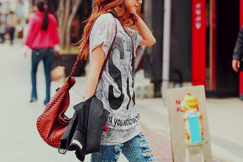 bolsa, camiseta, estilo, fashion, girl, jeans, look, rocker, style