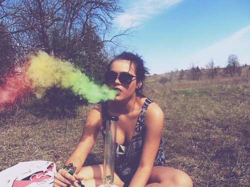bong, girl, high, hippie, rainbow, smoke, smoking, weed