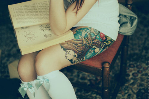 book, chair, girl, socks, tattoo