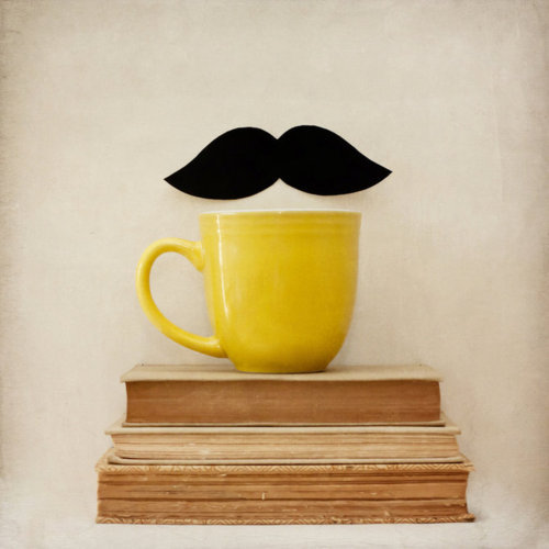 books, creative, cup, inspirational, mustache, photo, photography, yellow