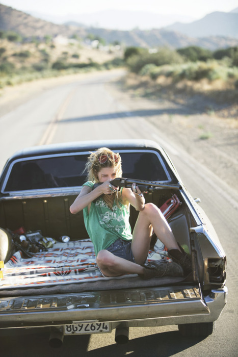 boots, girl, gun, pretty, road, shorts, truck