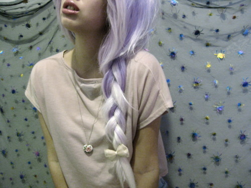 bow, braid, girl, hair, necklace, plait, purple hair