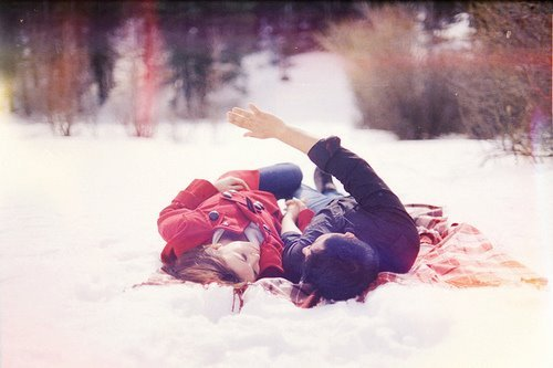 boy and girl, love, picnik, snow, winter