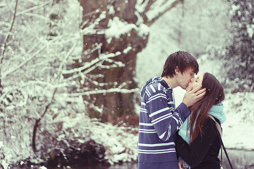 boy, boy and girl, couple, face, girl, girl and boy, hold, in love, kiss, kss, love, skin, snow, tree, winter