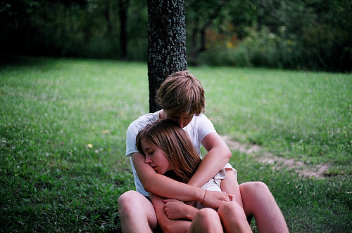 boy, brunette, couple, cuddle, forehead, forest, girl, guy, head, hug, kiss, tree, woods