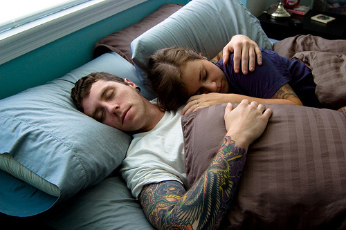 boy, girl, love, lovers, sleeping, tattoo