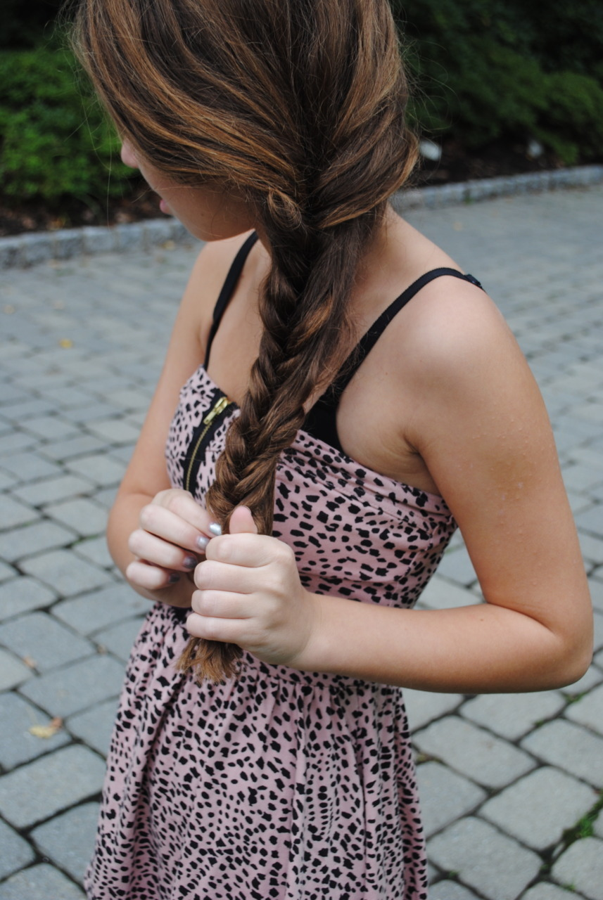 braid, brunette, cute, dress, fashion