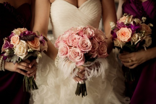 bride, bridesmaids, flowers, girly, pretty, roses, wedding, wedding dress