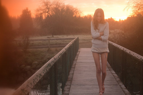 bridge, field, girl, light, lovely couple