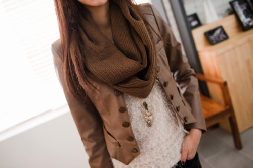 brown scarf, brunette, cute, girl, leather jacket