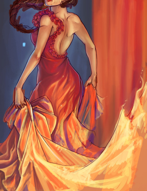 burn, draw, dress, fire, girl on fire