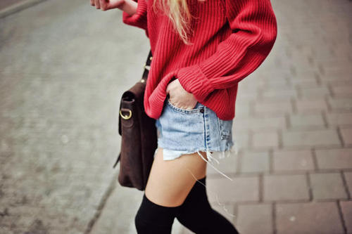 cable knit, distressed, fashion, girl, hot pink, knee high socks, model, pink, shorts, street fashion, street style, sweater