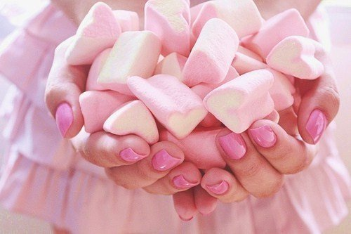 candy, food, girly, marshmallows, nails, pink