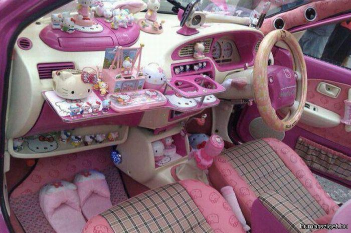 car, cute, hello kitty, pink