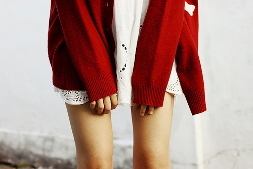 cardigan, fashion, girl, girls, red, shirt, skirt, woman, women