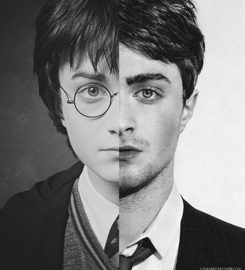 /careofme, black, black white, boy, daniel radcliffe