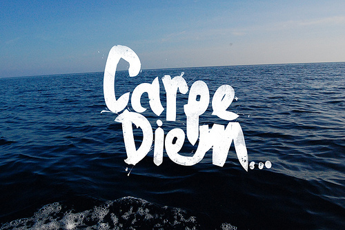 carpe diem, ocean, quote, typography, water